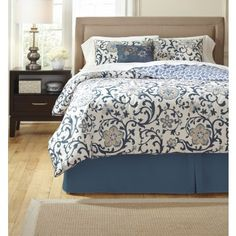 Electric Floral-Blue - QUEEN COMFORTER SET