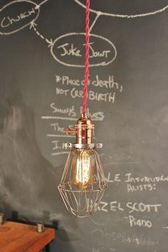 Vintage Industrial Copper Cage Light - Machine Age Minimalist Bare Bulb Pendant Lamp on Etsy, $63.99
