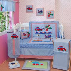 Colorful and versatile, this transportation-themed crib set features fun…