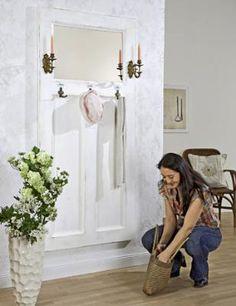 How to Make a Coat Rack from a Door.  Convert an old front door into a mirrored coat rack.  tutorial found here:  http://www.freshhomeideas.com/diy-projects/eco-friendly-projects/how-to-make-a-coat-rack-from-a-door