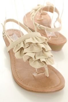 Natural Ruffled Linen Fabric Thong Post Sandals