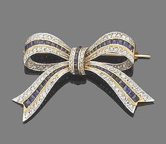 A sapphire, synthetic sapphire and diamond brooch The tied ribbon bow set throughout with rose-cut diamonds and calibré-cut sapphires and synthetic sapphires, length 4.3cm.