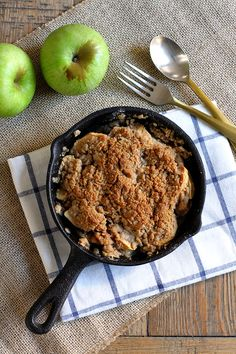What's the best thing since apple pie? Single-serving apple crisp in a mini cast iron skillet.