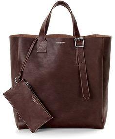 Aspinal of London 'A' Tote Bag Smooth Brown  ? Prefer longer handle