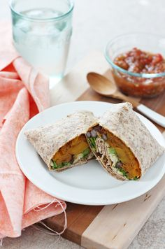 Butternut Squash, Kale and Black Bean Burritos