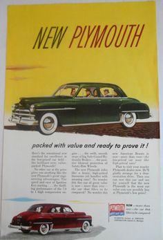 =-=1950 Car AD Plymouth 4door automoble Original