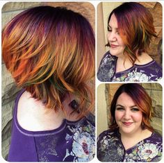 Purple, orange and green hair color by Rachel at Avante on Main Street Salon, Exton PA
