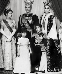 Princess Shahnaz (on the left) Emerald  Diamond Tiara. Farah Pahlavi, the former Queen and Empress of Iran with coronation crown, on the right.