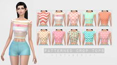Sims 4 Custom Content Finds - vintagesimy: TS4 Patterned Crop Tops ...