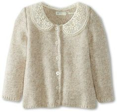 United Colors of Benetton Kids - Girls' Soft Cardi With Lace Collar (Infant) (Light Beige) - Apparel on shopstyle.com