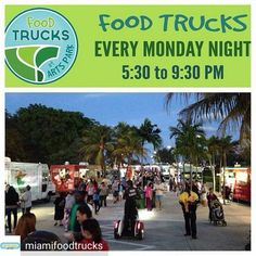 Credit to @miamifoodtrucks : Bring out the whole family to Arts Park in Hollywood TONIGHT (5:30-9:30PM) & eat from 25 of South Florida's Best Food Trucks brought to you by @BurgerBeast.com: --------- Aja Food Truck B.C Tacos Bel-Go Boba Station Chinaman's World Famous EggRoll Truck Cold Stone Creamery Daddy's Grill Don Mofongo FOAR Food Junkies HipPOPs handcrafted gelato pops Jerk It Cuisine The Lobsta Guy Main Stop Grill Mama's Taste of the World Miami Roasted Corn Mobile Culinary Kitchens…