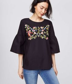 Shop LOFT for stylish women's clothing. You'll love our irresistible Parrot Jungle Bell Sleeve Top - shop LOFT.com today!
