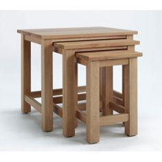 Sherwood Oak Nest of 3 Tables The Sherwood Oak furniture range is a substantial, high quality collection, which would bring a contemporary flourish to a multitude of interiors. Solid, light oak is crafted into sophisticated pieces Oak Bedroom Furniture, Home Furniture, Solid Oak Coffee Table, Coffee Tables, Furniture Packages, Selling Furniture, Quality Furniture, Space Saving Furniture, Light Oak