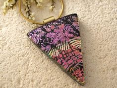 Dichroic Jewelry  Fuchsia Pink Gold Black Necklace  by ccvalenzo