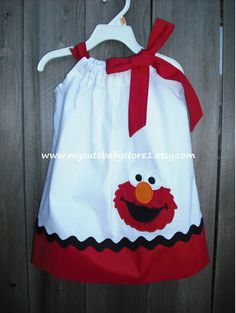 White and Red Elmo Pillowcase dress by mycutebabystore1 on Etsy, $26.50