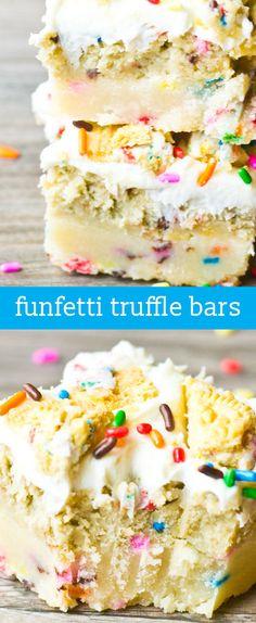 Funfetti Truffle Bars {Layers of Buttery Shortbread, Oreo Truffle Filling & Frosting} via @tastesoflizzyt