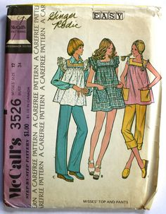 Vintage 1970s Women's Ruffled Top/Smock Blouse and Pants Sewing Pattern Misses…