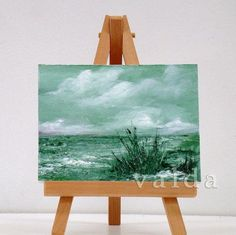 By The Ocean. 3x4 original miniature oil painting gift