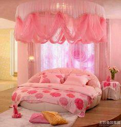 yuvarlak yatak ile yatak odası dekorasyonu