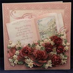 Burgundy Roses Book. 8 x 8 boxed decoupaged card. Available from: www.therhodaharveycollection.co.uk