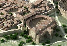 Reconstrucción del Teatro y plaza porticada, del foro. Normalmente los teatros romanos solían tener un espacio porticado. En el caso del de Segóbriga no, pero había una plaza porticada detrás. Imagen capturada de ka página web del Campo Arqueológico.