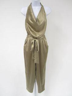 DIANE VON FURSTENBERG Brown Silk Sleeveless Slim Crop Leg Halter Jumpsuit Sz 0 @ www.ShopLindasStuff.com