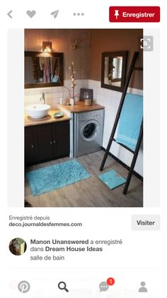 Deco Salle De Bain Marron Et Turquoise – Ideen für die Küche Laundry Room Bathroom, Bathroom Renos, White Bathroom, Small Bathroom, Small Space Interior Design, Shower Remodel, Bathroom Inspiration, Cozy House, Sweet Home
