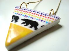 SMALL TRIANGLE necklace with print with bear - geometric - by STICKTAILS. €12.00, via Etsy.