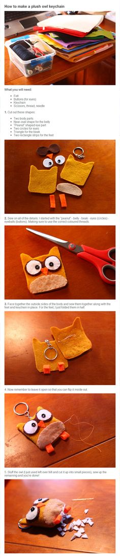 Instructions to make a cute little felt owl Keyring  ribbon and bow studio
