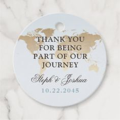 World Map Travel Theme Wedding Party Favor Tags in Blue and Tan inspired by printed maps with a subtly retro look. You can personalize these cute wedding favor tags online with your own text, names, date, and background color. #destinationwedding #destination #wedding #favor #tags #favours #packaging #map #worldmap #travel #wanderlust #weddingplanning #stationery #ideas #map #theme #zazzle #personalied #custom