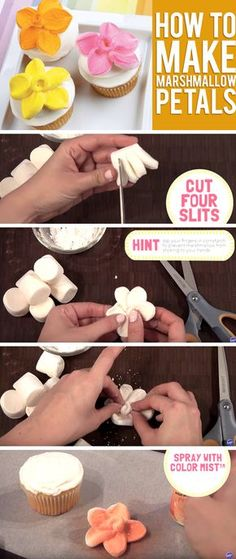 Turn A Marshmallow Into A Flower Shaped Cupcake Topper!