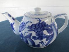 Vintage Blue Fruit Motif Porcelain Tea Pot Made By by BitofHope