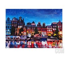 Amsterdam Skyline with Canal at Night Giclee Print by Martina Bleichner at Art.com