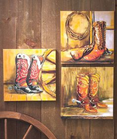 Western Cowboy Boots Canvas Wall Prints Art Decor Set Of 3