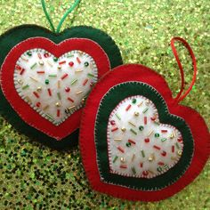 Christmas Ornaments / Christmas Hanging Hearts / Xmas Felt Ornaments /  set of 2 / Handmade and Design in felt and crystal beads