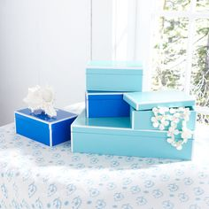 Lacquered teal boxes remind me of Tiffany's .....W7437 Sleek Lidded Boxes - Small Storage