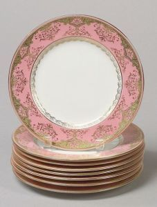 Set of Eight Coalport Porcelain Pink and Gold Dessert Plates