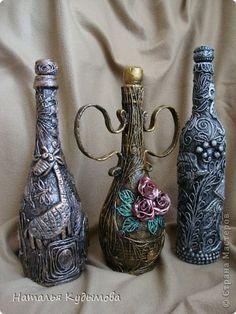 Декор предметов Аппликация из скрученных жгутиков, Лепка: И опять бутылочка... Салфетки, Фарфор холодный. Фото 5