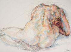 Sylvie Guillot MARINE #1 watercolour and black Conté pencil, 56X76cm