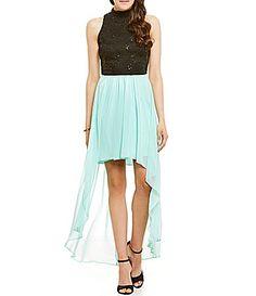 B Darlin Mock Neck Sequin Lace HighLow Sheath Dress #Dillards