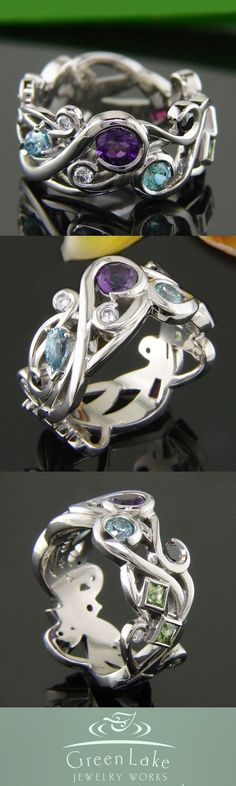 Amethyst - Custom #MothersRing in pierced palladium with family birthstones: White and black #diamonds, peridot, pink tourmaline, aquamarine, amethyst, and ruby. #GreenLakeMade