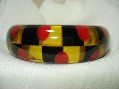 Chunky Checkered Shultz Apple Juice Red Black Bakelite Bangle Bracelet ...sold in 2013 for $463