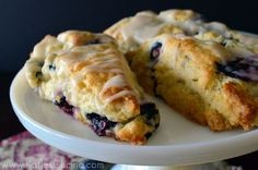 Blueberry Scones with Lemon Glaze - Katies Cucina | Katies Cucina  I love all the delicious brunch recipes from #BrunchWeek!