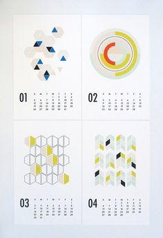 Great colour and shape combos  2014 wall calendar shapes by dozi on Etsy
