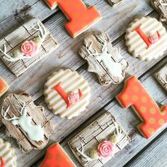 1st birthday set in coral/pink/gold to... - Flying Squirrel Cookies