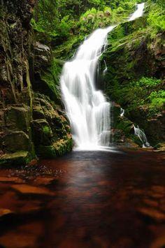 Kamienczyk Waterfall near Szklarska Poreba, Poland - a three-level cascade 89 feet high;  the highest waterfall in the Polish part of The Giant Mountains