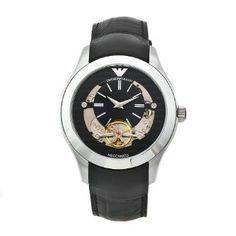 Emporio Armani Men's AR4640 Meccanico Black Leather Band Watch: Watches: Amazon.com