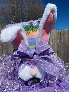 Mad Hatter Bunny Wreath Dapper Top Hat Bunny Swag Easter | Etsy Easter Wreaths, Holiday Wreaths, Holiday Decor, Seasonal Decor, Candy Wreath, Fall Swags, Bride Flowers, Easter Bunny, Easter Eggs