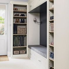 Design yourself a well-organised boot room with plenty of practical storage to act as a stylish transitional space for just-out-of-the-rain coats and muddy wellies Boot Room Utility, Ikea, Hallway Storage, Shoe Storage Mudroom, Boot Room Storage, Cloakroom Storage, Coat And Shoe Storage, Storage Spaces, Built Ins