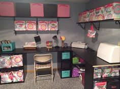 Craft room organization using Thirty-One products (Your Way Cubes & Rectangles). I want this room! Thirty One Office, Thirty One Party, Thirty One Business, Thirty One Gifts, 31 Gifts, Thirty One Organization, Scrapbook Organization, Home Office Organization, Organizing Your Home